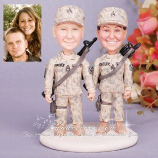 Army Wedding Cake Toppers So Cute Of Course It Should Be A Soldier With His