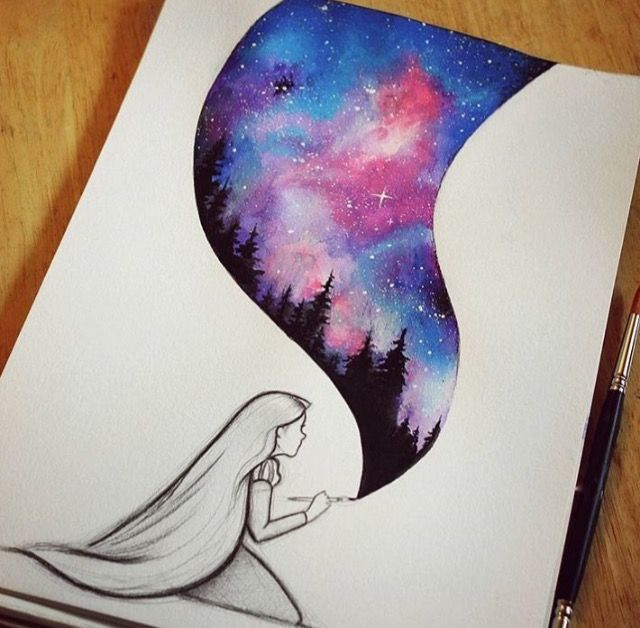 Rapunzel Watercolor Painting Galaxy Painting Cool Drawings