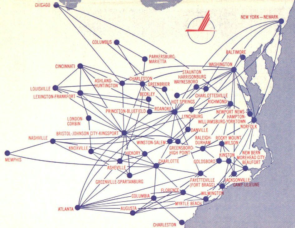 Piedmon Routes This Is Pre Deregulation Route Map Route Map Piedmont Airlines Vintage Airlines