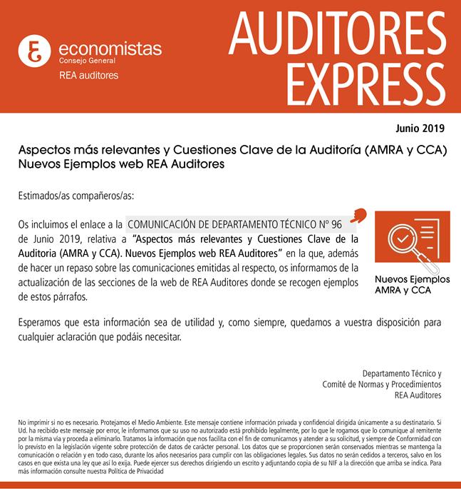 Auditores Express Nº1 Junio 2019 Comunicación Del Departamento Técnico Nº 96 Aspectos Más Relevantes De Auditoría Estados Financieros Comunicacion Consejos