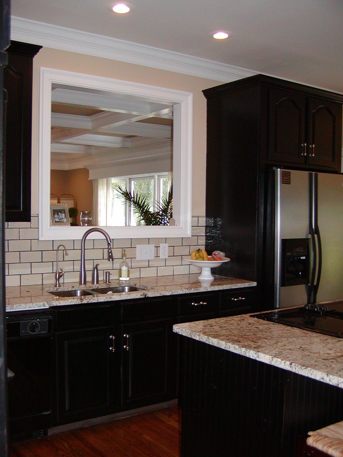 Very close to what we are doing espresso cabinets light grey kitchen dark cabinets light counter tops and walls subway tile doublecrazyfo Image collections
