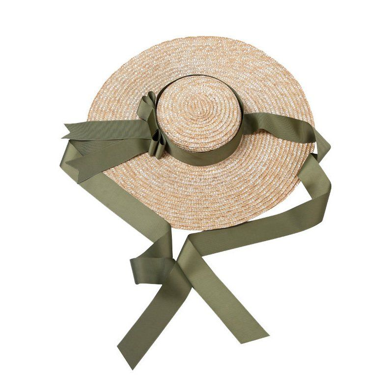 The European And American Designer Duds Large Eaves Flat Straw Hat Ribbon Bowknot Seaside Holiday Beach Hat In The Summer Of Female In 2021 Straw Hat American Design Flat Top Hat