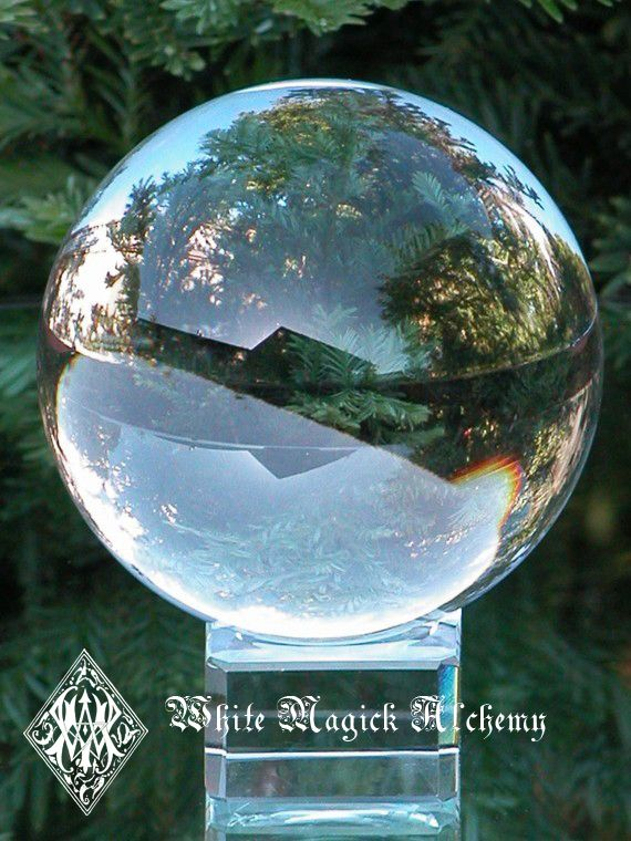 White Magick Alchemy - Magical Crystal Ball and Stand 2 Inch