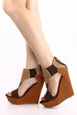BROWN COLOR BLOCK OPEN TOE PLATFORM WEDGES,Women's Wedge Shoes For ...