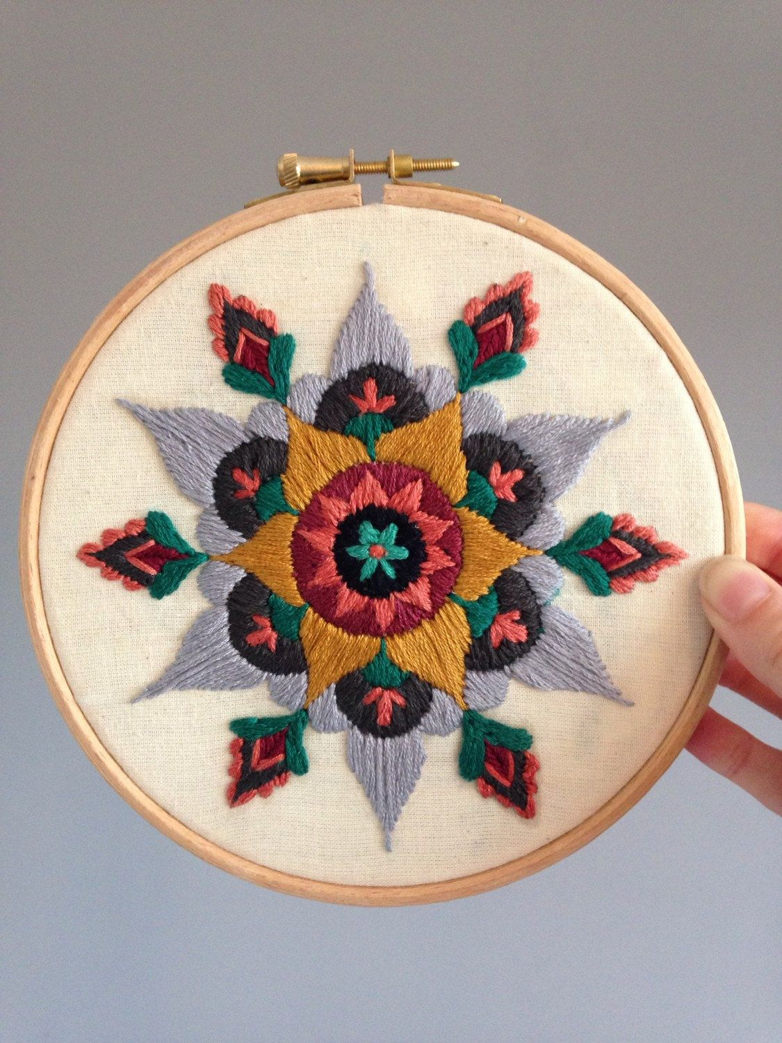 A Beautifully Ornate Original Mandala Design, Carefully Hand Embroidered  Onto Crisp Calico Fabric, On
