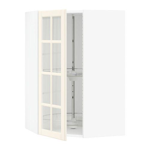 Sektion Corner Wall Cab Carousel Glass Door White Bodbyn Off White Ikea Corner Wall Glass Door Pantry Wall