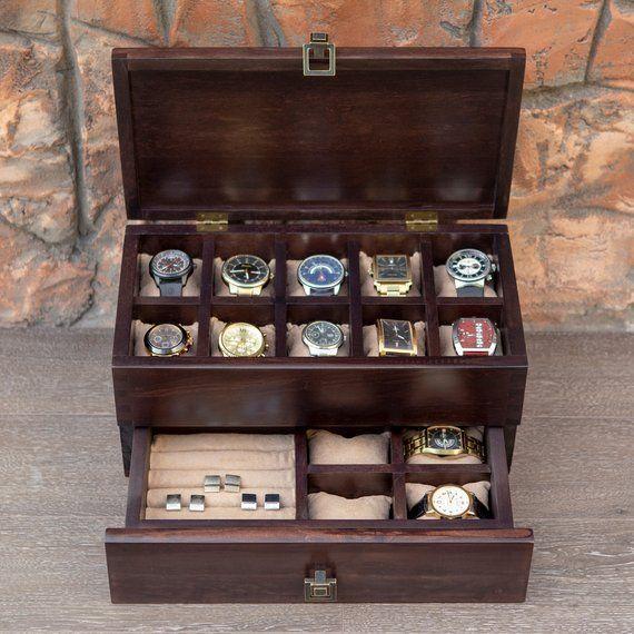 Wooden valet box for watch and cuff links Hetch DS12 Walnut Mens Valet Box Wood   Zeitmesser