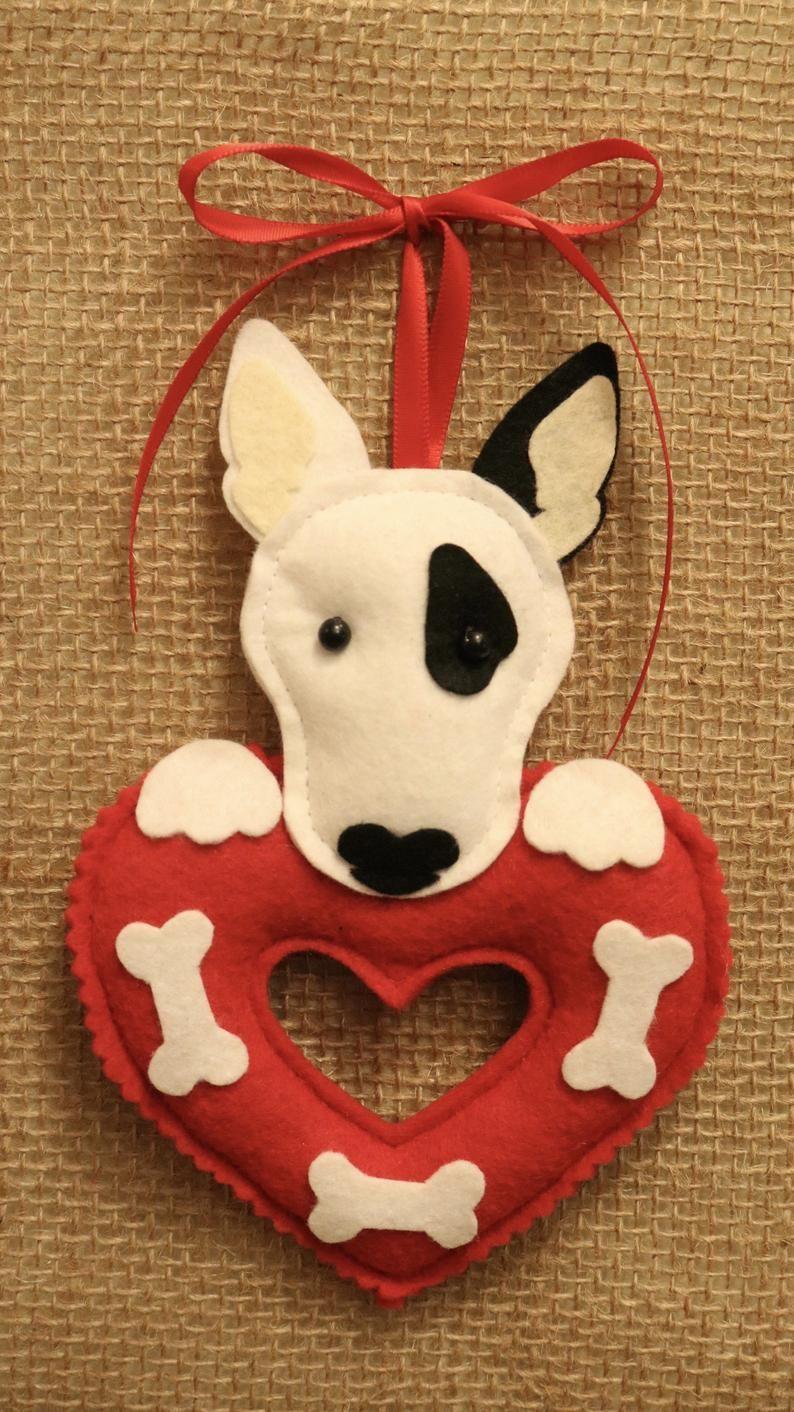 Bull Terrier Ornament (Target Dog) on Heart w/ Adjustable
