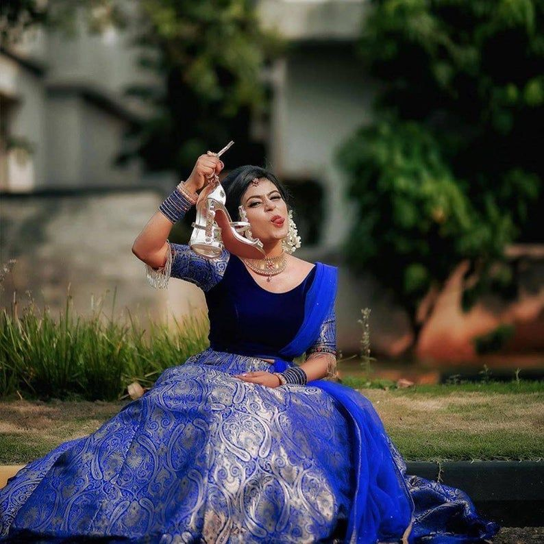 Royal blue silk brocade lehenga set Indian wedding outfits Hindu wedding  wear | Bridal lehenga blouse design, Brocade lehenga, Indian wedding outfits