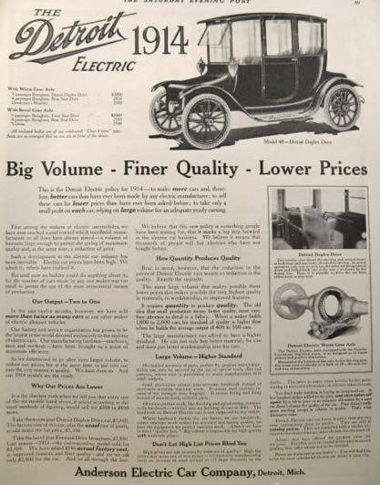 1914 Detroit Electric Automobile Ad Big Volume Finer Quality