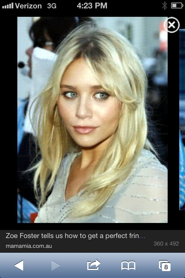 Side Swept Middle Part Bangs Long Layers And Blonde Long Hair Styles Hair Styles Ashley Olsen Hair