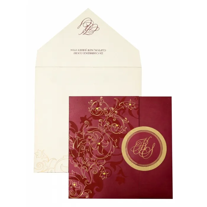 WINE RED SHIMMERY FLORAL THEMED - SCREEN PRINTED WEDDING INVITATION : W-843 - 123WeddingCards #weddinginvitations #invitationcard #onlineweddingcards #onlineweddinginvitations #weddingcards #uniqueweddinginvitation #personalisedinvitations