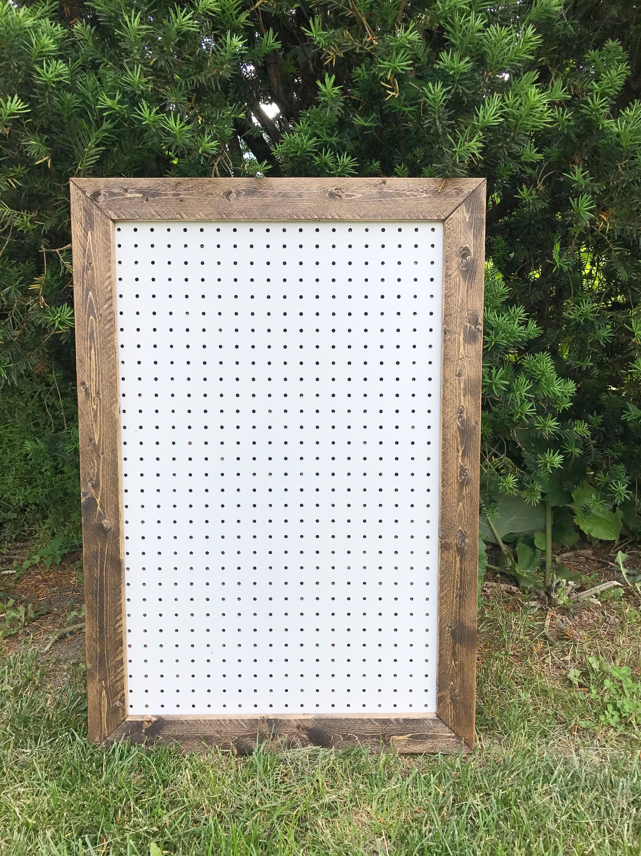 Rustic Pegboard, Pegboard Display, Large Pegboard, Framed Pegboard, Pegboard Frame,