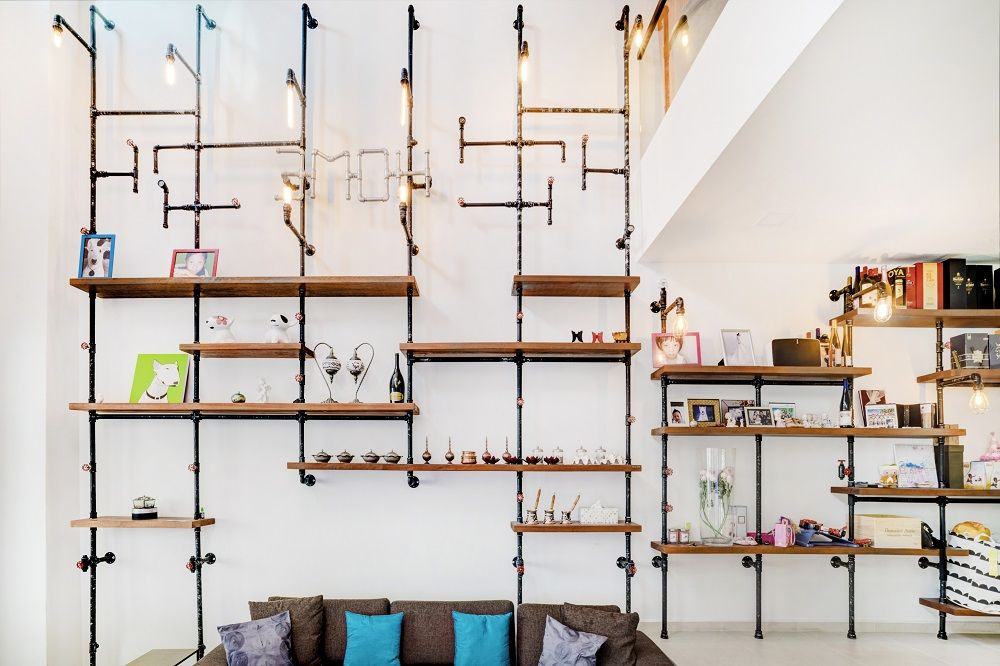 Peng creates unique handcrafted industrial-style shelving, furniture, design features and more — using sprinkler pipes and reclaimed wood.