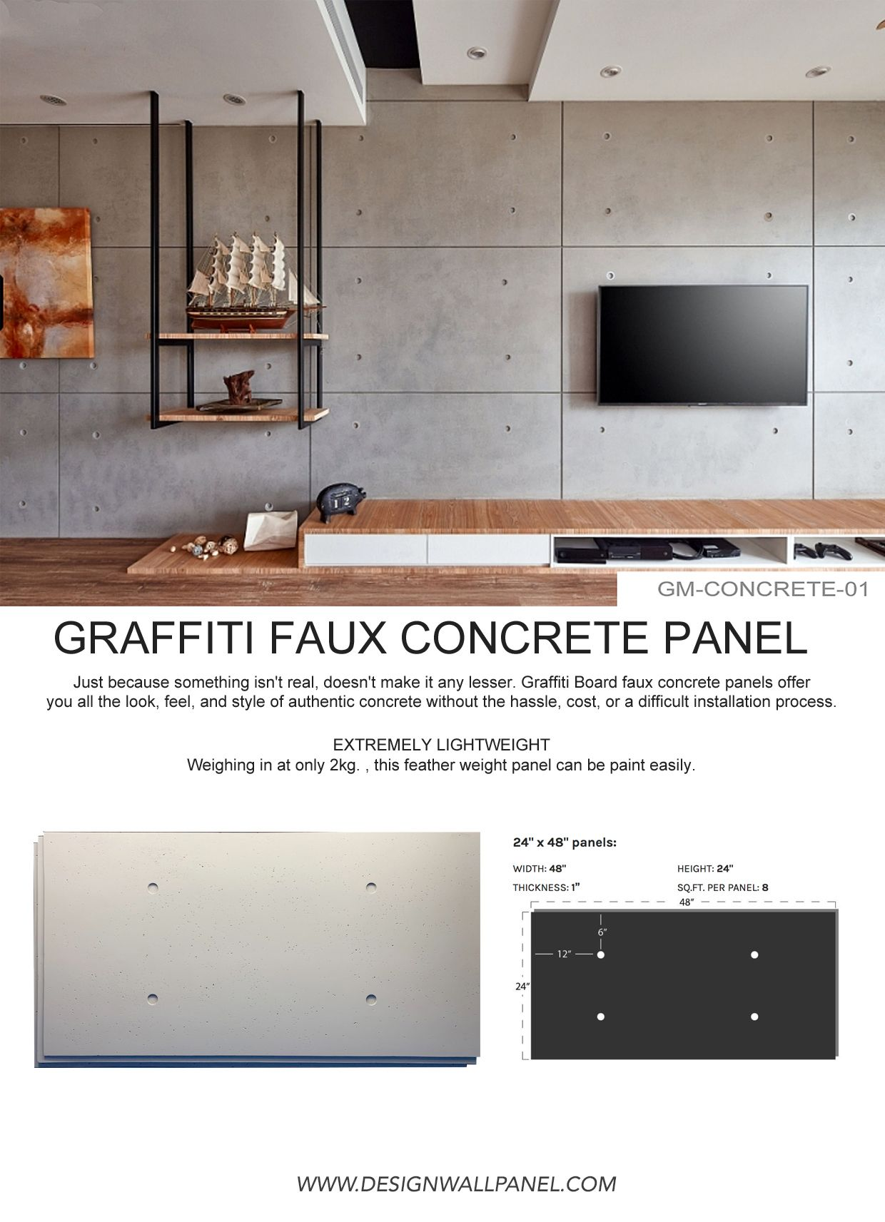 Faux Concrete Panel In 2020 Brick Wall Paneling Faux Brick Walls Interior Wall Design