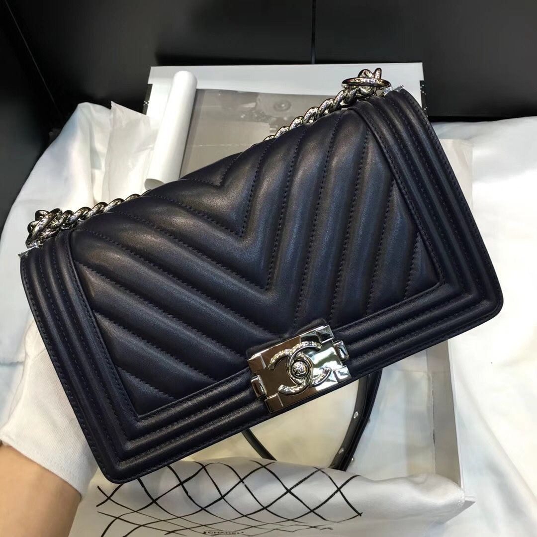 c133af3cf4ce Chanel Medium Chevron Calfskin Boy Flap Bag Black 2018 (Silver Hardware)