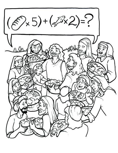 Jesus Feeds 5000 Coloring Page Jesus Feeds 5000 Coloring Pages