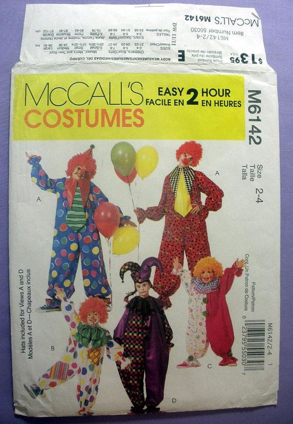 Childrens Clown Costumes Easy Sewing Pattern Halloween For Boy Or