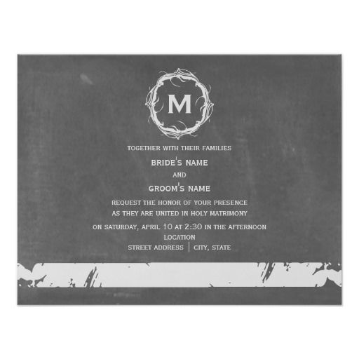Vintage ChaIk Inspired Monogram Wedding Invites