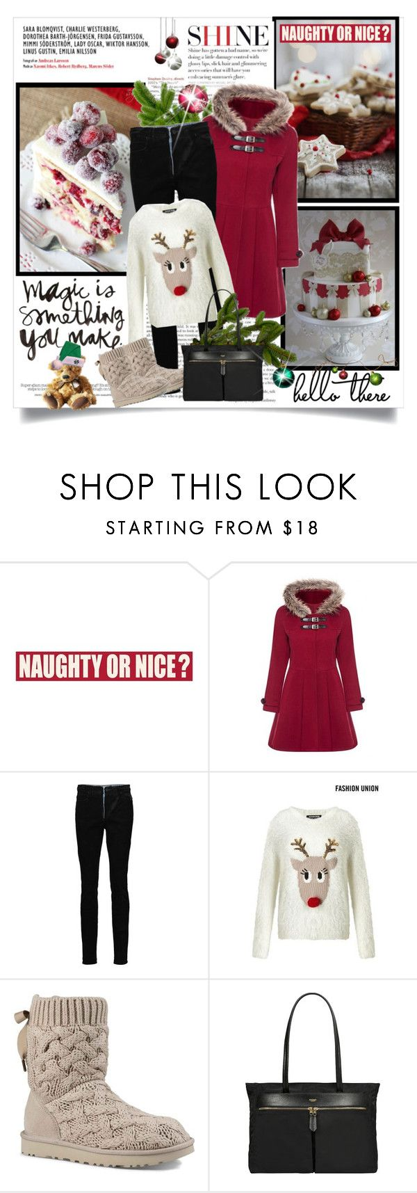 """""""Have You Been Naughty or Nice?"""" by likepolyfashion ❤ liked on Polyvore featuring Sixtrees, Alexander Wang, Fashion Union, UGG, Knomo, Holidaygifts and wintersweater"""