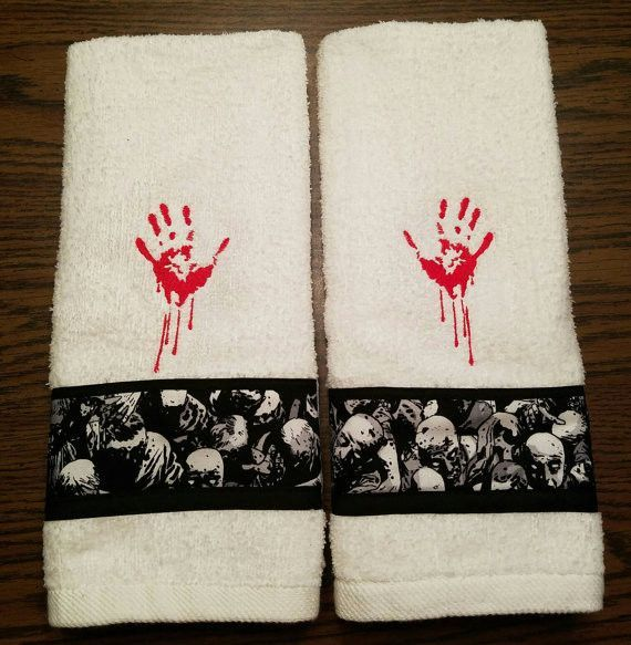 . Inspired by The Walking Dead  I have machine embroidered a set of