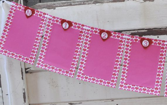 Heart 13 Month Photo Banner Girl 1st by CardsandMoorebyTerri, $35.00