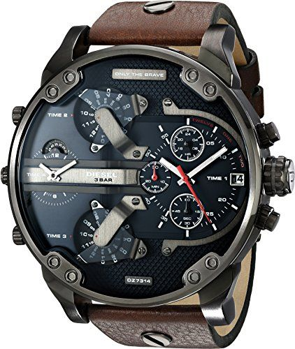 b34a9308faf Diesel Mens DZ7314 The Daddies Series Stainless Steel Watch With Brown  Leather Band     Visit the image link more details.