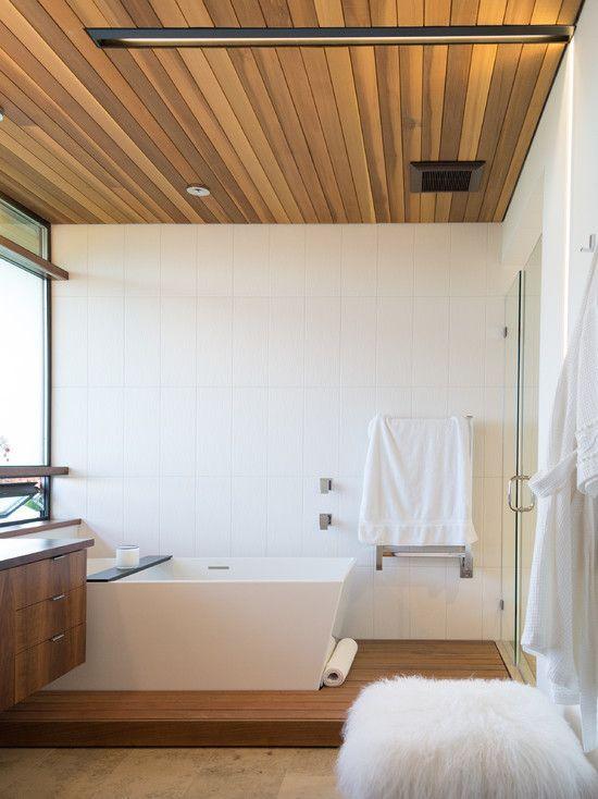 Wood Paneled Ceiling Modern Bathroom Moodboard Wood Plank Ceiling