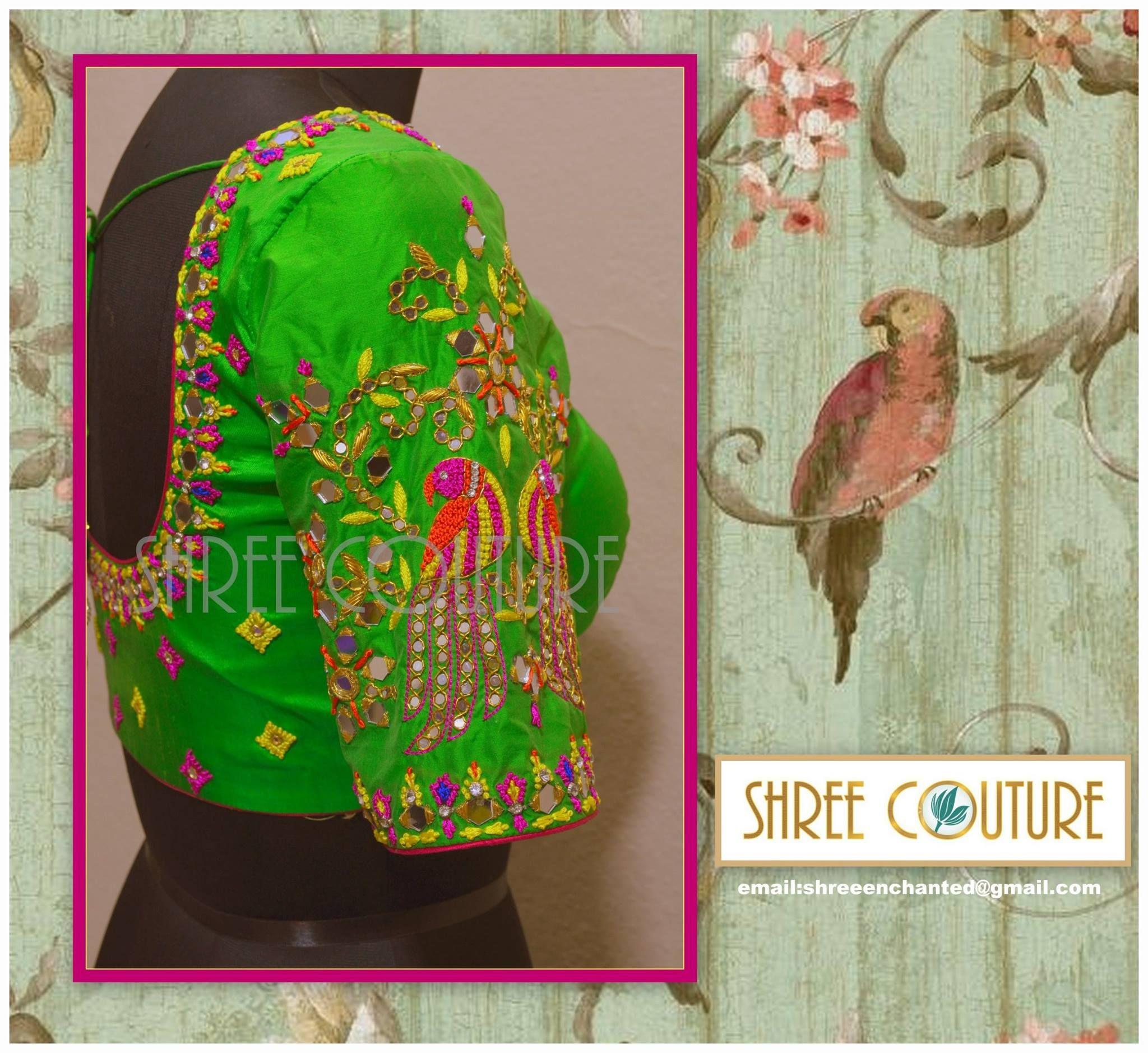 f4ecedcd329a07 parrot design blouse