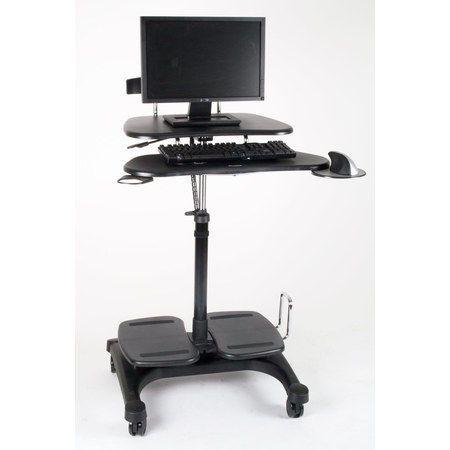 Height Adjustable Mobile Computer Standing Desk Cart Mobile