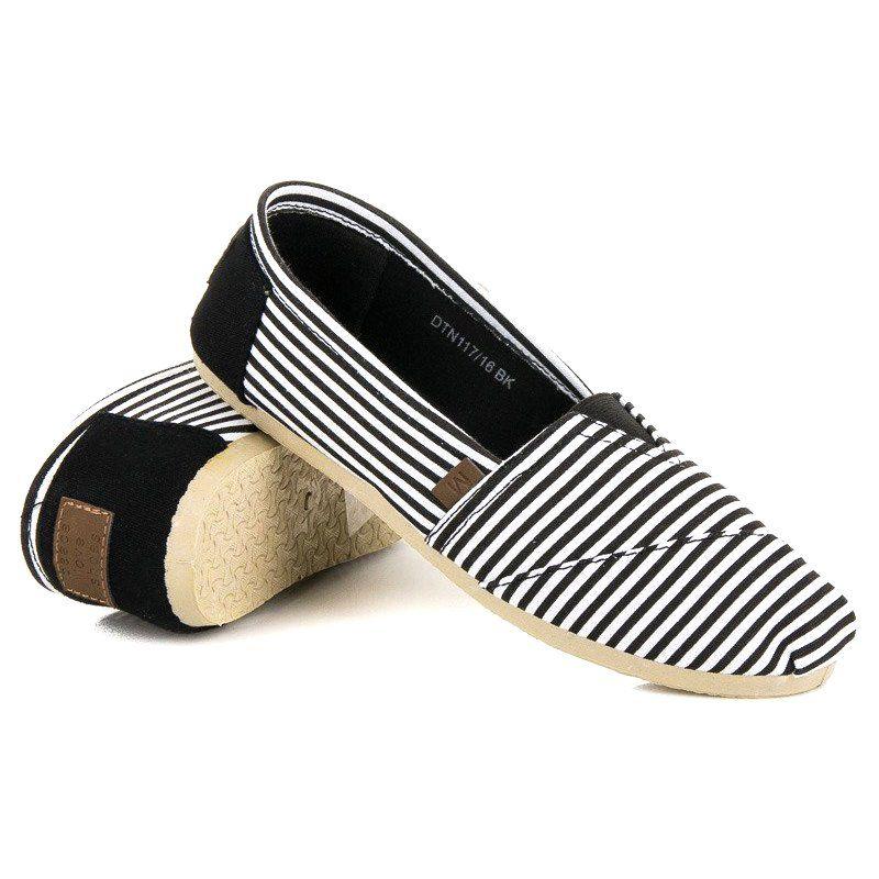 Mckey Wygodne Espadryle W Paski Czarne Espadrilles Shoes Fashion