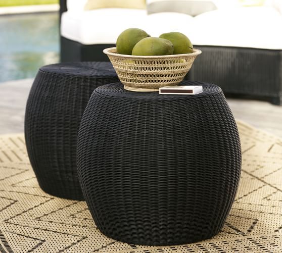 Palmetto All Weather Wicker Accent Table Black Outdoor Furniture Sale Wicker Side Table Wicker Patio Furniture