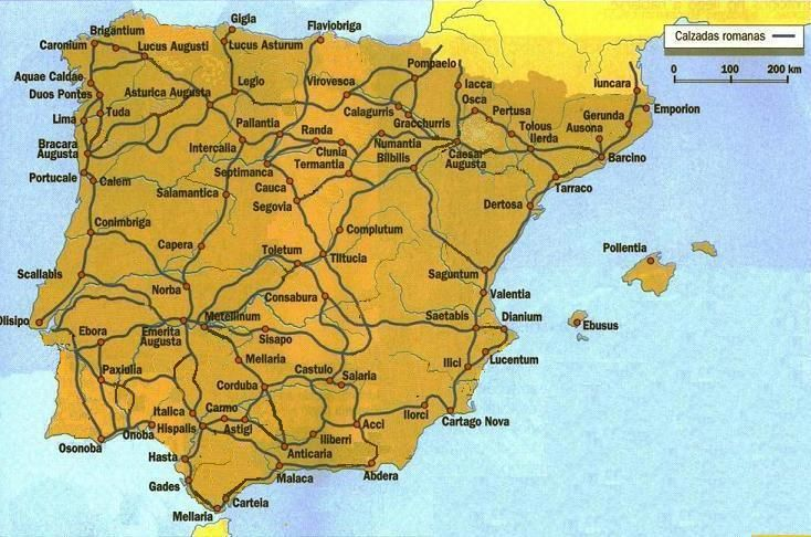 A map of Roman roads in Hispania Spain History