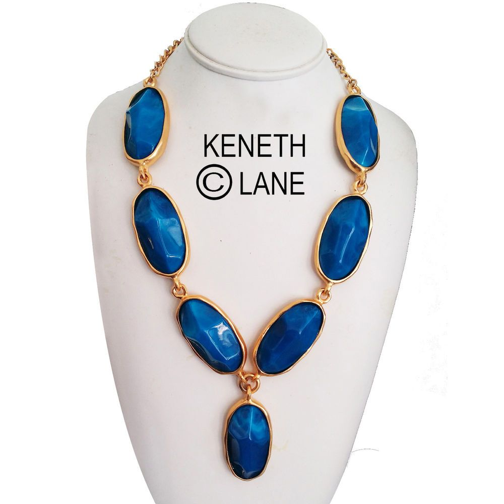 Keneth J Lane Simulated Blue Lapis Cabochons Necklace  #KennethJayLane