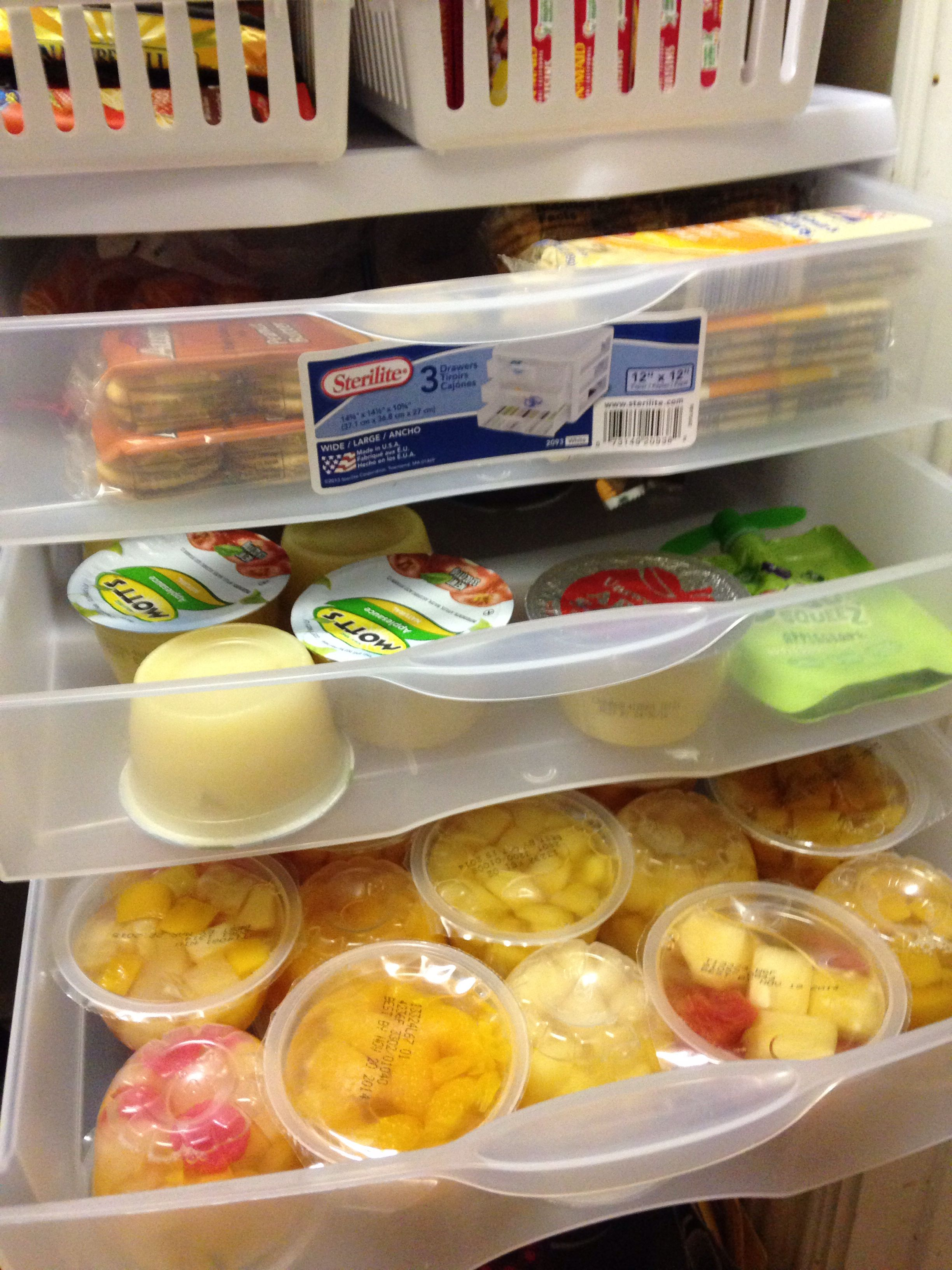 3-drawer plastic organizers are the perfect size to store fruit cups, applesauce, & other school snacks.   Makes it super easy for the kids to grab a snack or help pack their lunches!