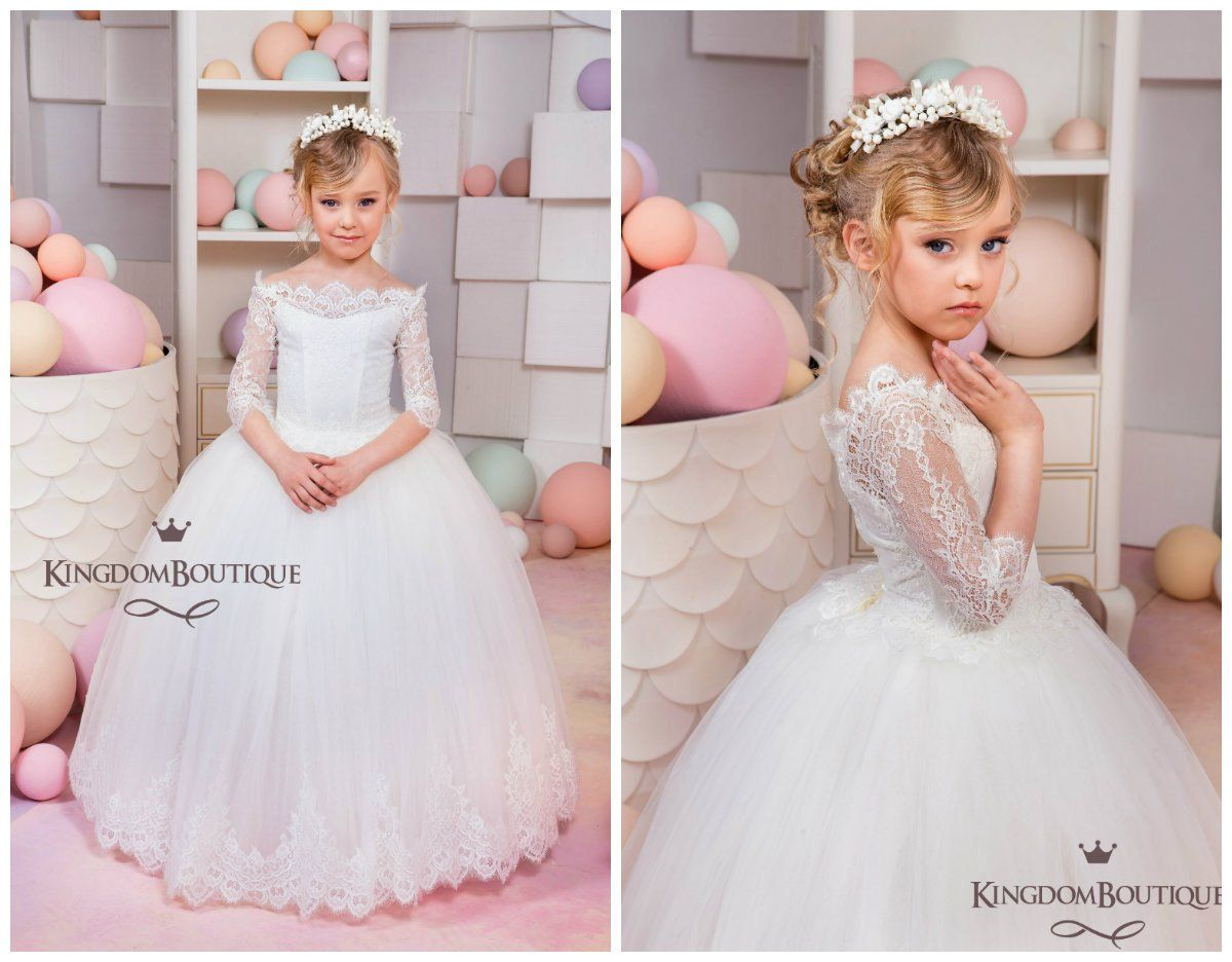 Ivory flower girl dress wedding holiday party bridesmaid birthday