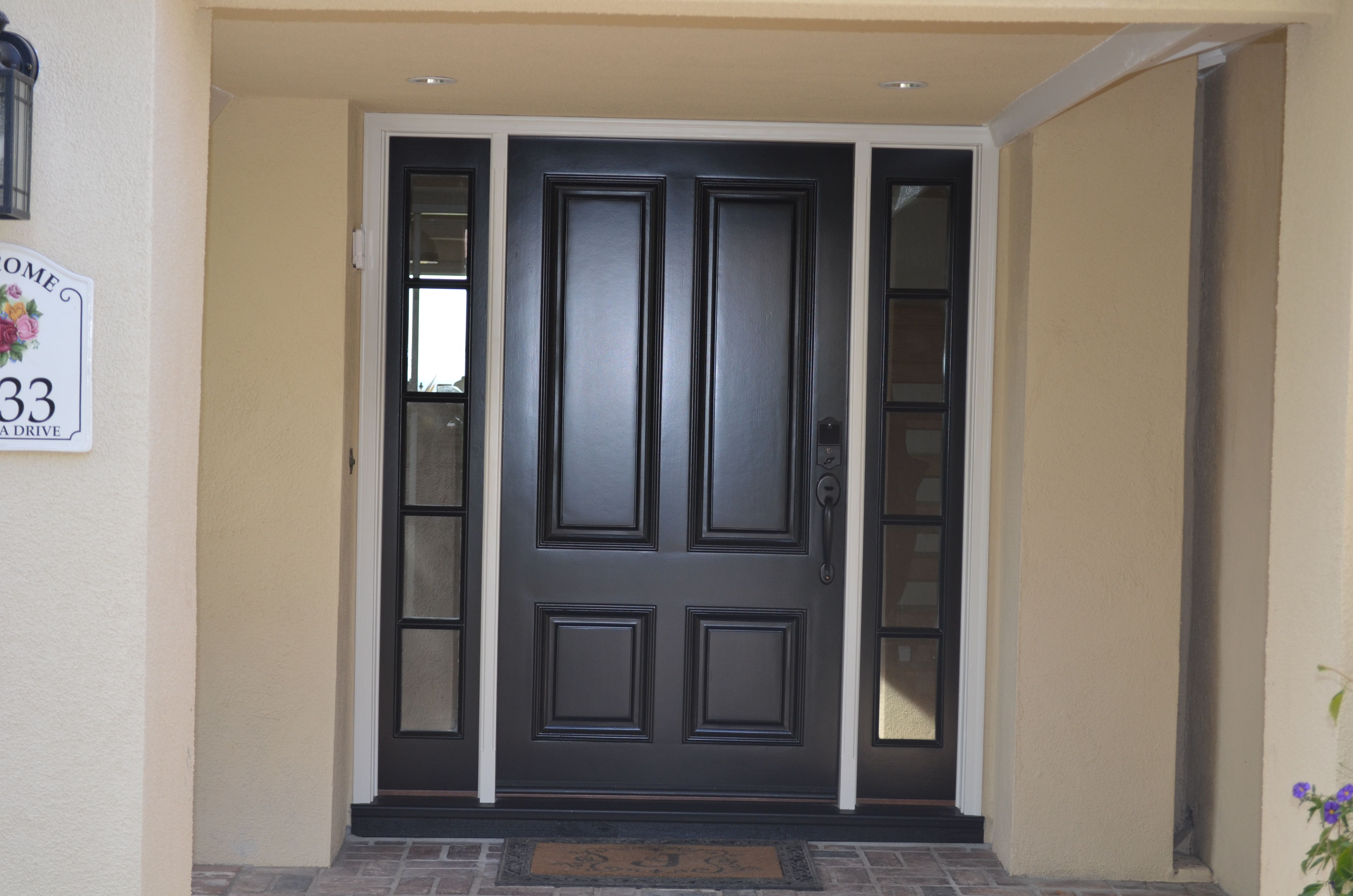 4 Panel No Glass And Side Lights With Grids Contemporary Entry Doors Entry Doors Entry Doors With Glass