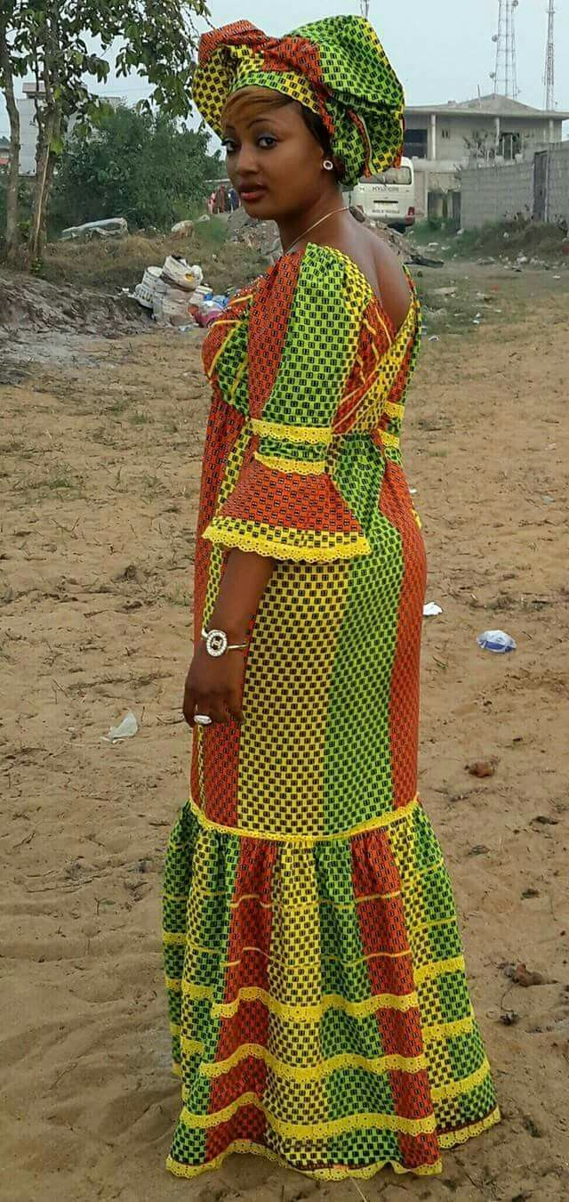 I like that kind of sleeves and the model of the skirt. | Mode africaine robe longue, Mode ...