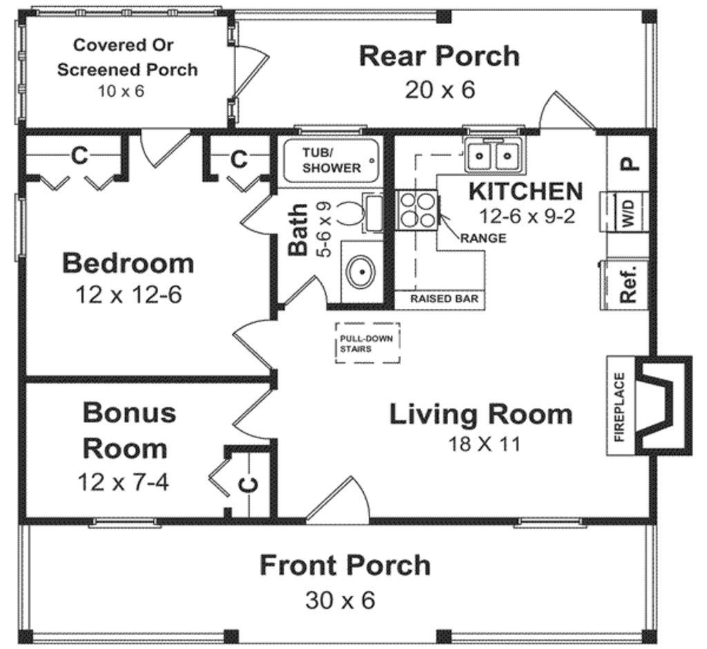 Plan à Adapter Pour Le Soussol Sq Ft Bedroom Cottage Plans - Floor plan for house 2