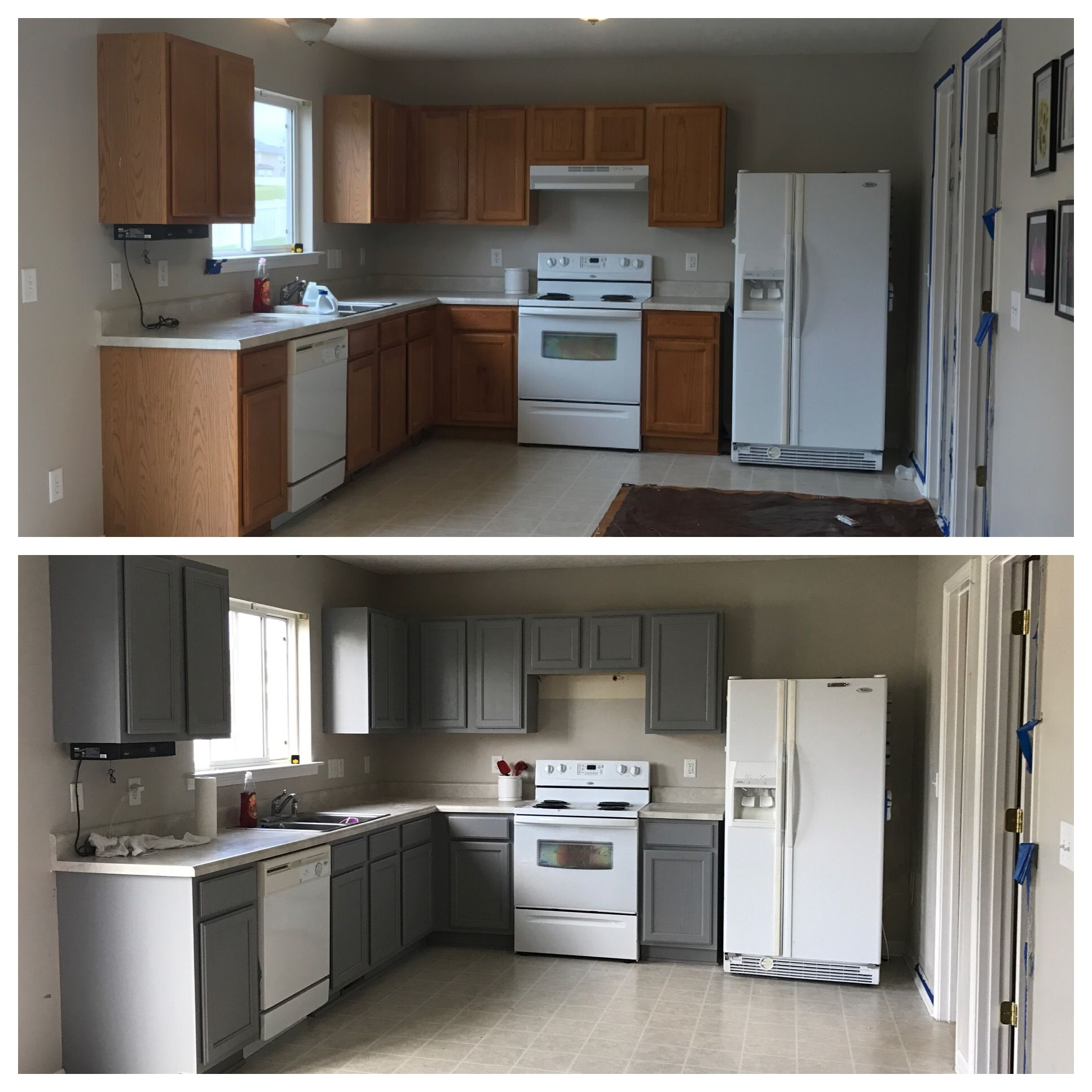 Behr Anonymous Paint Cabinets Grey Kitchen Before And After