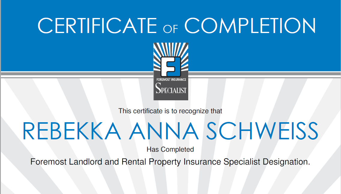 Rebekka received the designation for insuring Landlord ...