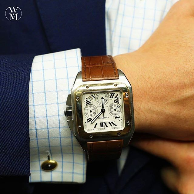 Cartier Santos 100 is an automatic timepiece that will get you automatically noticed. #newarrival #cartier