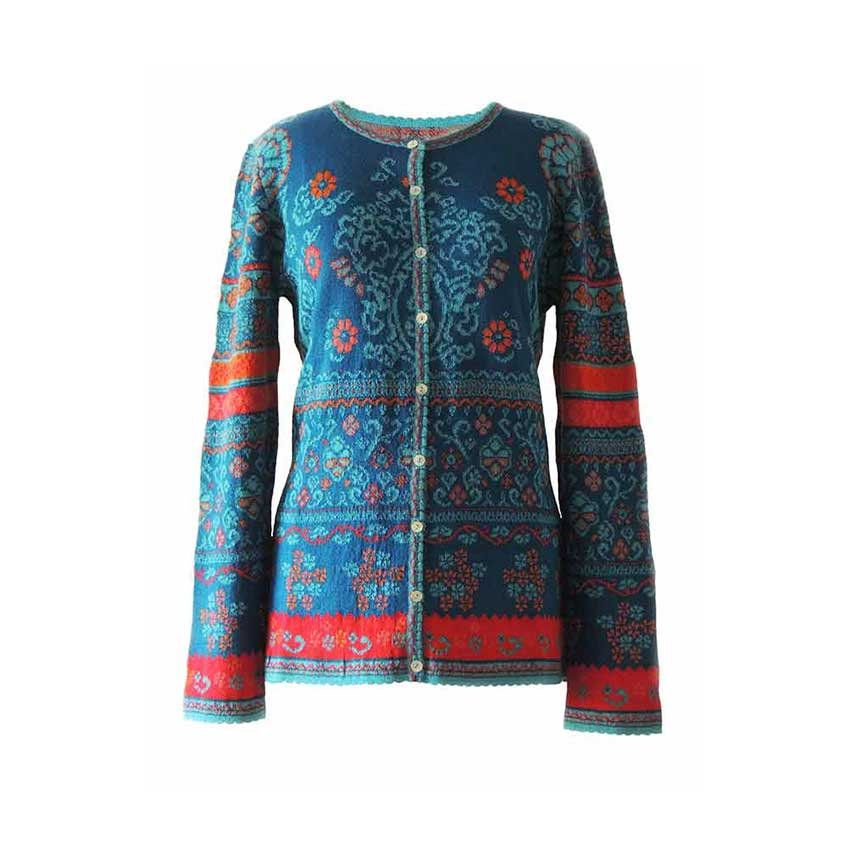 71caf53fb Cardigan Lucy blue-multi with color print in jacquard knit