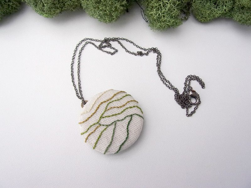 Fabric Necklaces - Hand Embroidered Necklace - Mountains - a unique product by LITTLEbi ..., #embroidered #fabric #hand #LITTLEbi #mountains #necklace #necklaces #PRODUCT #unique