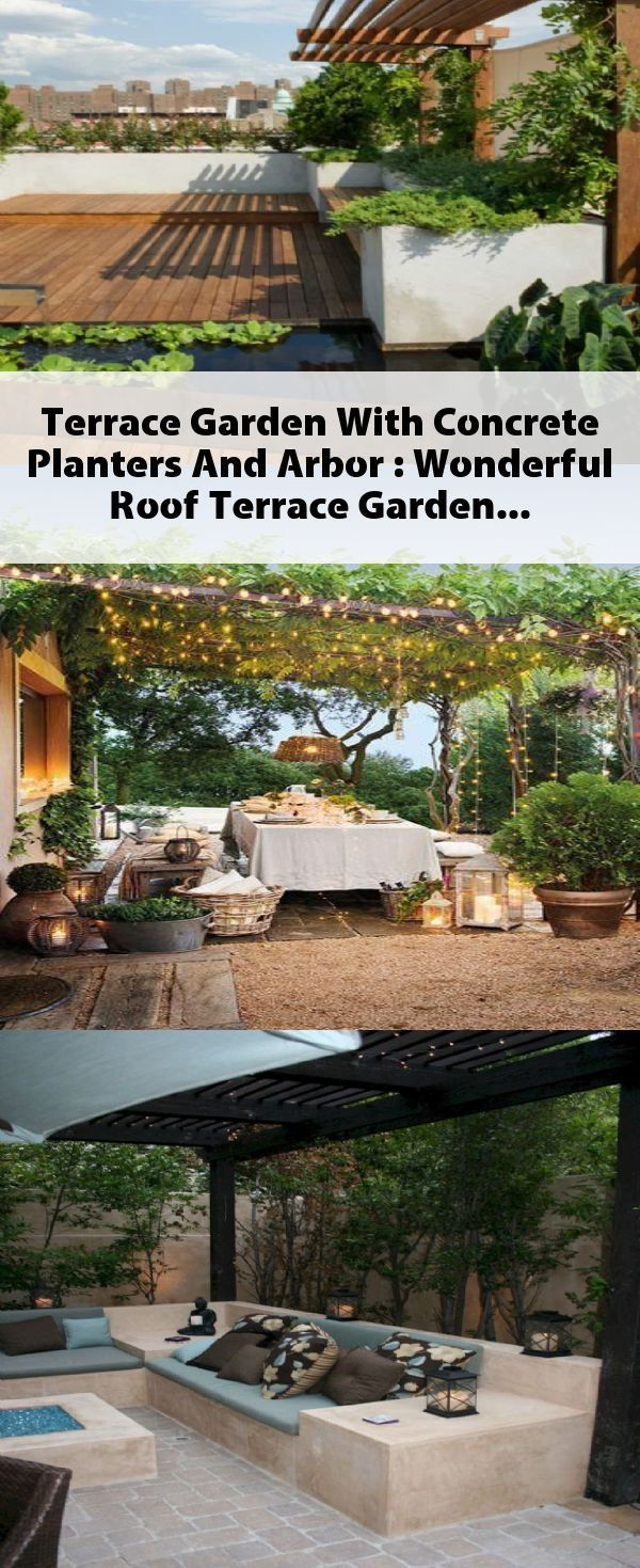 Terrace Garden With Concrete Planters And Arbor  Wonderful Roof Terrace Garden High Chinese aid Miscanthus limits the terrace to the garden The view into the garden is bl...