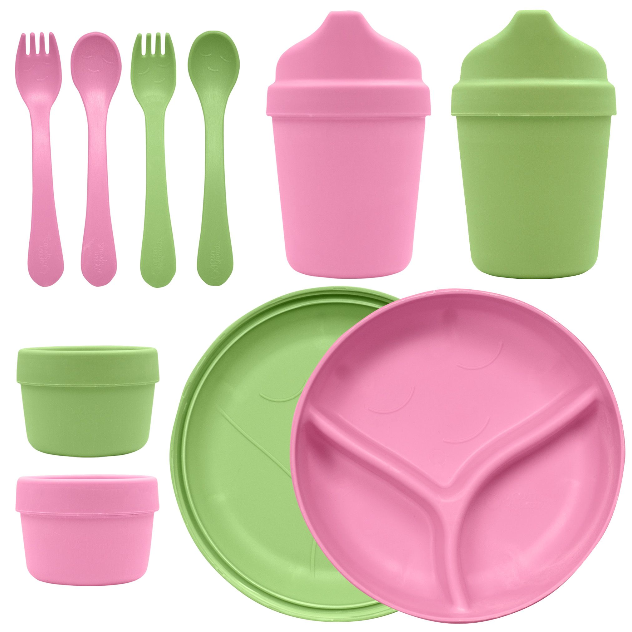 green sprouts Sprout Ware Dinner Ware Multi-Pack, Pink/Green
