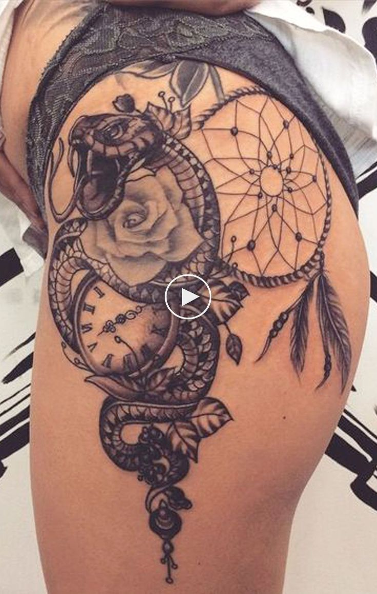 Unique Dreamcatcher Thigh Tattoo Ideas for Women – Cool ...