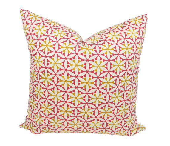 Waverly Geometric Floral Print Throw Pillow, by Trellis Home Decor