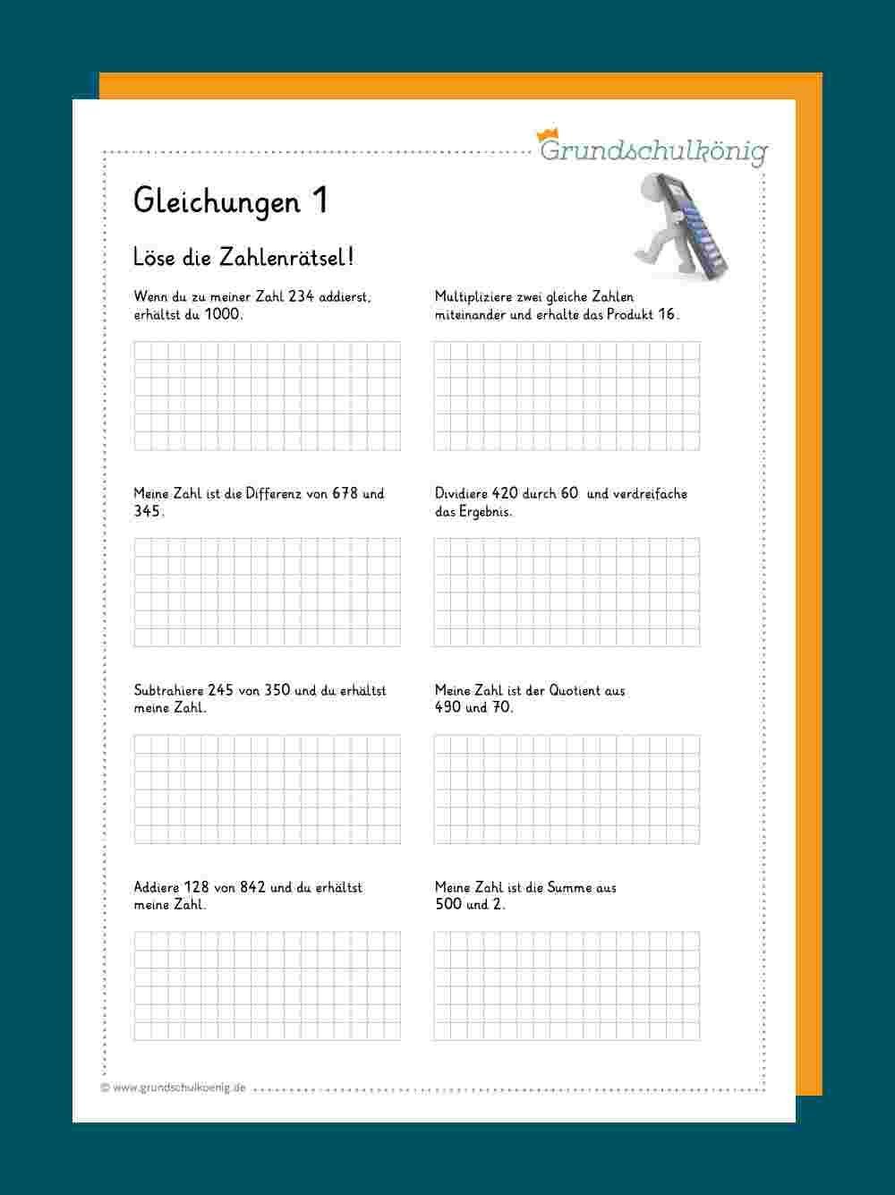 Gleichungen / Zahlenrätsel   Gleichungen, Zahlenrätsel, Mathematik ...
