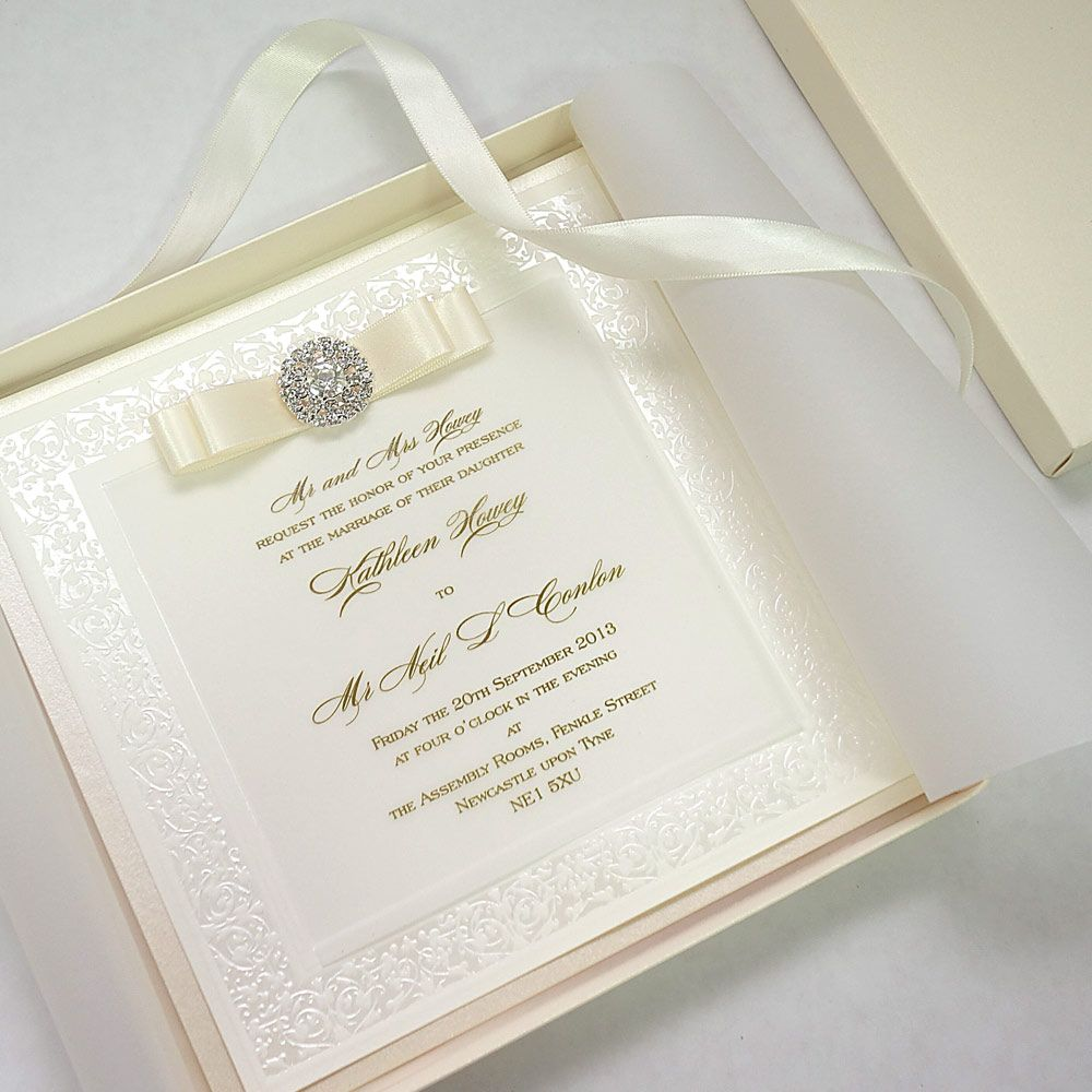 Luxury Boxed Wedding Invitations decorated with brooch and ribbon ...